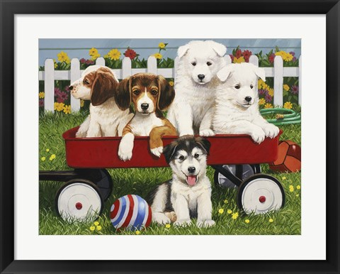 "Framed Puppy """"Play Date"""" Print"