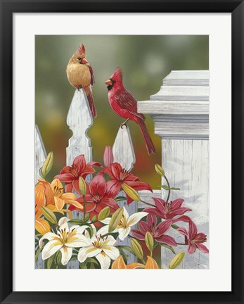 Framed Lilies And Cardinals Print