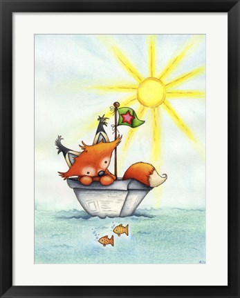 Framed Little Fox at Sea Print