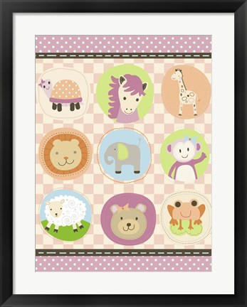 Framed Baby Girl Animal Friends Print