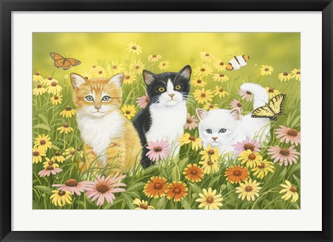 Framed Kittens in the Garden Print