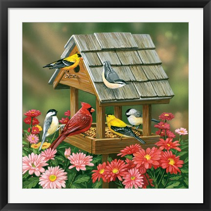 Framed Backyard Birds Fall Feast Print