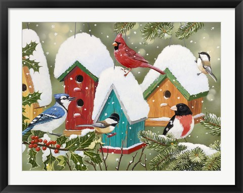 Framed Winter Village Print