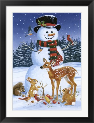 Framed Snowman With Friends Print