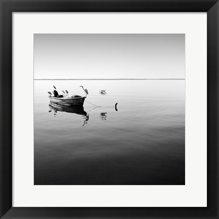 Framed Boat and Heron II Print