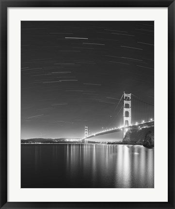 Framed Golden Gate and Stars BW Print