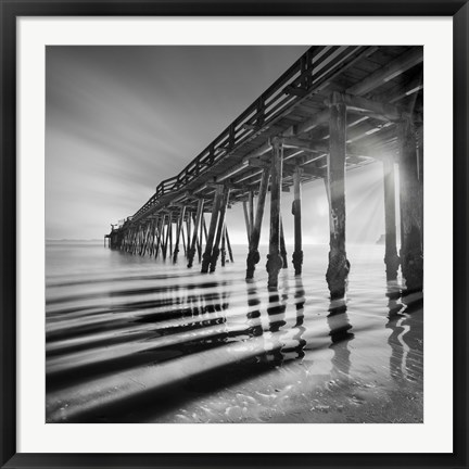 Framed Pier and Shadows Print