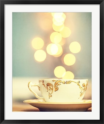 Framed Tea Cup in Cold Bokeh Print