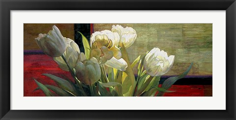 Framed Tulips with Red Print