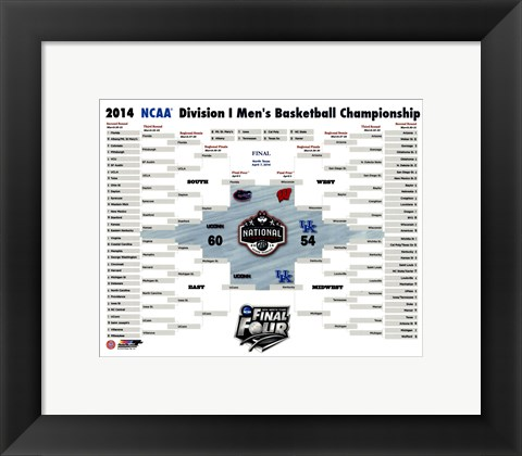 Framed University of Connecticut Huskies 2014 NCAA Men's College Basketball National Champions Bracket Print