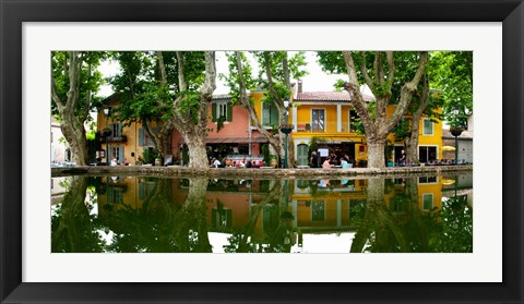 Framed Market at the waterfront, Place de l'Etang, Cucuron, Vaucluse, Provence-Alpes-Cote d'Azur, France Print