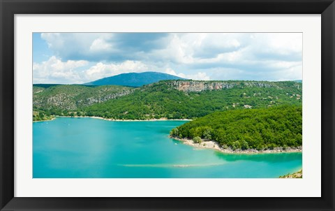 Framed Lake with mountain in the background, Lake of Sainte-Croix, Var, Provence-Alpes-Cote d'Azur, France Print