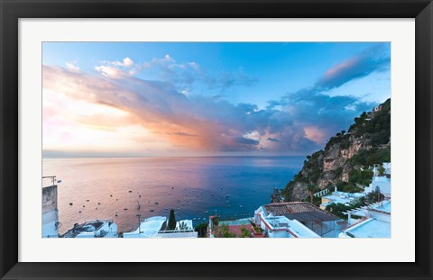 Framed Sunset in Positano, Amalfi Coast, Italy Print