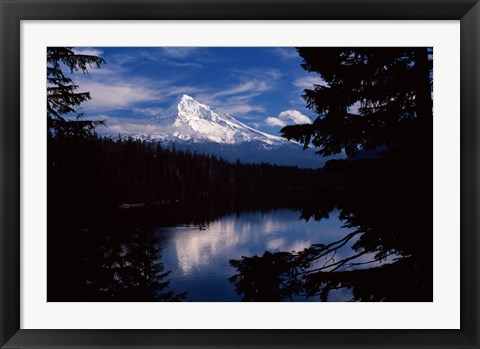 Framed Reflection of a snow covered mountain in a lake, Mt Hood, Lost Lake, Mt. Hood National Forest, Hood River County, Oregon, USA Print