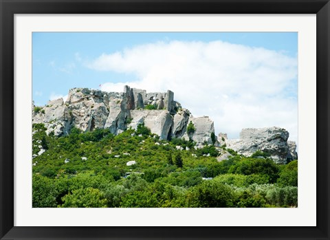 Framed Low angle view of a ruined town on a rock outcrop, Les Baux-de-Provence, Bouches-Du-Rhone, Provence-Alpes-Cote d'Azur, France Print