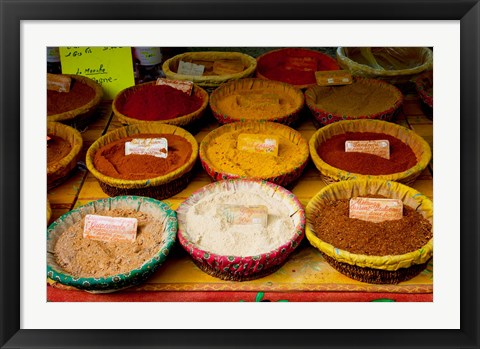 Framed Spices for sale at a market stall, Lourmarin, Vaucluse, Provence-Alpes-Cote d'Azur, France Print