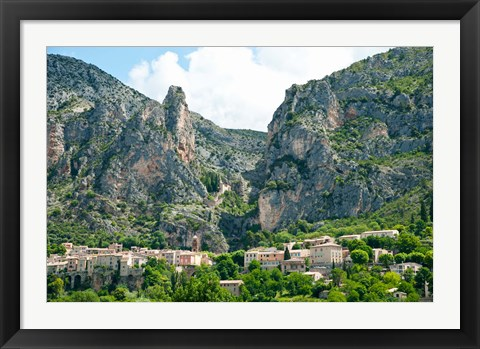 Framed Village at mountainside, Moustiers-Sainte-Marie, Alpes-de-Haute-Provence, Provence-Alpes-Cote d'Azur, France Print
