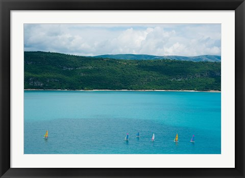 Framed Sailboats on the Lake, Lac de Sainte Croix, Sainte-Croix-Du-Verdon, Alpes-de-Haute-Provence, Provence-Alpes-Cote d'Azur, France Print