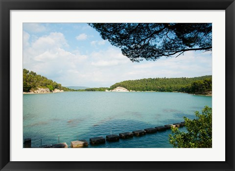 Framed Stepping stones in the reservoir, Canal de Marseille, Rognes, Bouches-Du-Rhone, Provence-Alpes-Cote d'Azur, France Print