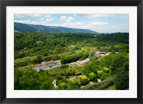 Framed Aerial view of a plant nursery, Menerbes, Vaucluse, Provence-Alpes-Cote d'Azur, France Print