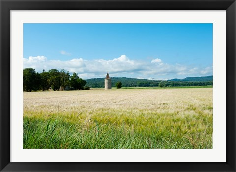 Framed Wheat field with a tower, Meyrargues, Bouches-Du-Rhone, Provence-Alpes-Cote d'Azur, France Print