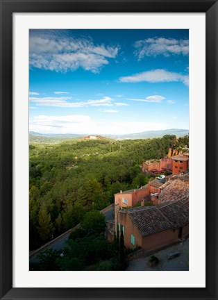 Framed Buildings in a town, Roussillon, Vaucluse, Provence-Alpes-Cote d'Azur, France Print