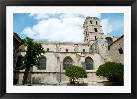 Framed Low angle view of a bell tower, Church Of St. Trophime, Arles, Bouches-Du-Rhone, Provence-Alpes-Cote d'Azur, France Print