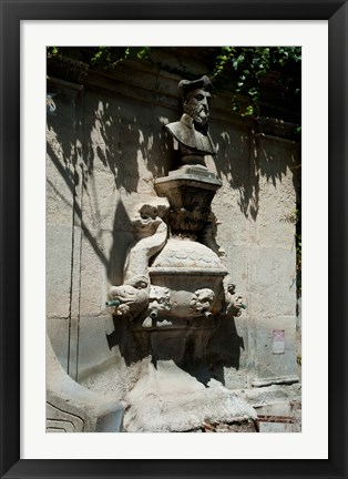 Framed Fountain with the bust of Nostradamus, Rue Carnot, St.-Remy-de-Provence, Bouches-Du-Rhone, Provence-Alpes-Cote d'Azur, France Print