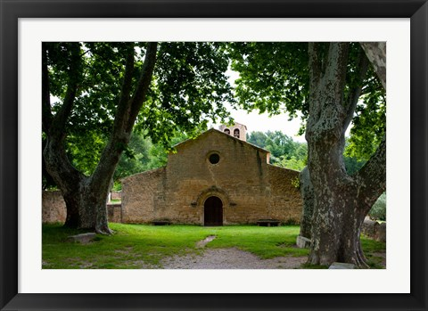 Framed Facade of an old church, Vaugines, Vaucluse, Provence-Alpes-Cote d'Azur, France Print