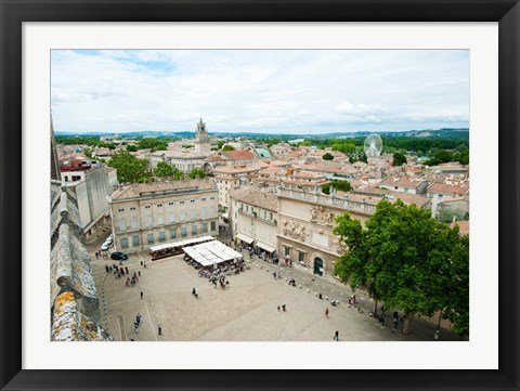 Framed Aerial view of square named for John XXIII, Avignon, Vaucluse, Provence-Alpes-Cote d'Azur, France Print