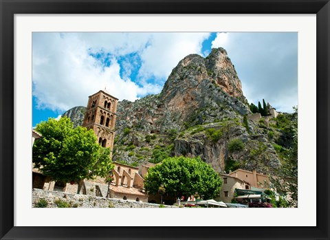 Framed Low angle view of a village at the mountainside, Moustiers-Sainte-Marie, Provence-Alpes-Cote d'Azur, France Print