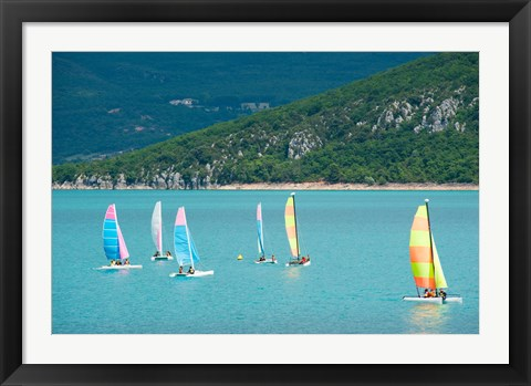 Framed Windsurfers on the lake, Lac de Sainte Croix, Sainte-Croix-Du-Verdon, Provence-Alpes-Cote d'Azur, France Print