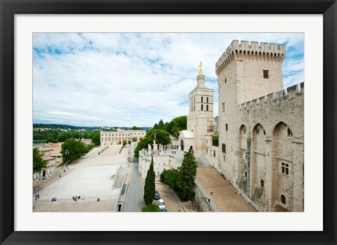Framed Palace in a city, Notre-Dame Des Domes, Le Palais des Papes, Palais Des Papes,  Provence-Alpes-Cote d'Azur, France Print