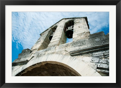 Framed Low angle view of a bell tower on a bridge, Pont Saint-Benezet, Rhone River, Provence-Alpes-Cote d'Azur, France Print