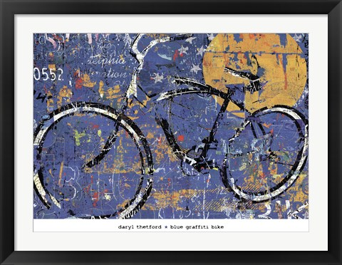 Framed Blue Graffiti Bike Print