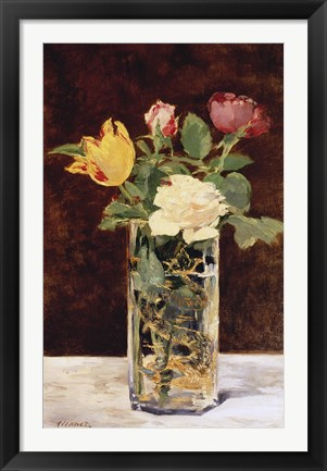 Framed Roses and Tulips in a Vase, 1883 Print