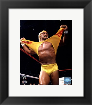 Framed Hulk Hogan in action Print