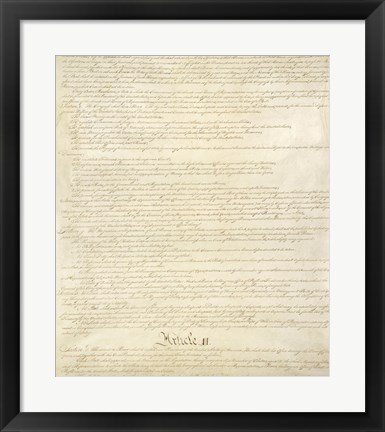 Framed Constitution of the United States II Print