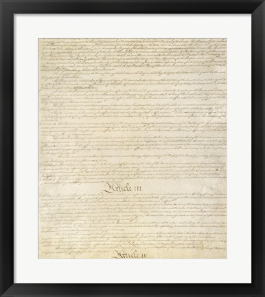 Framed Constitution of the United States I III Print