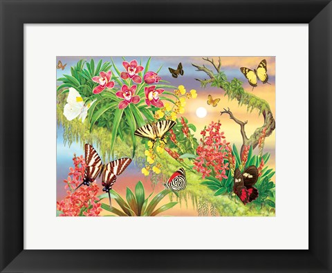 Framed Butterflies Out On A Limb Print