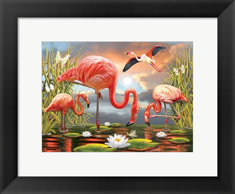 Framed Flamingos Print