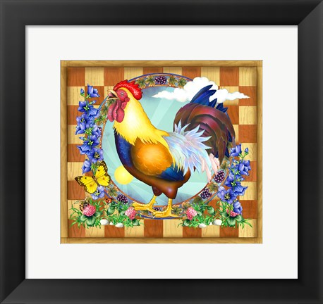 Framed Morning Glory Rooster III Print
