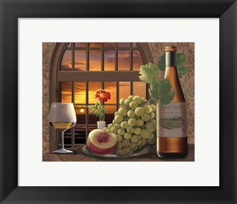 Framed Pinot Noir At Sunset Print