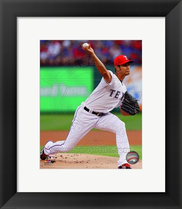 Framed Yu Darvish 2014 in Action Print