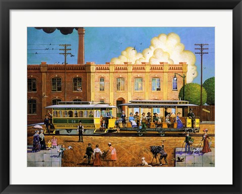 Framed Kansas City Cable Railway Print