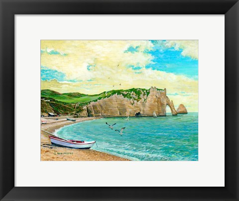 Framed Beach At Etreta Print