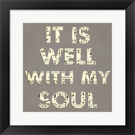 Framed It Is Well With My Soul - Gray Print