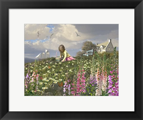 Framed Picking Daisies Print