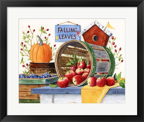 Framed Apples Grapes & Pumpkins Print