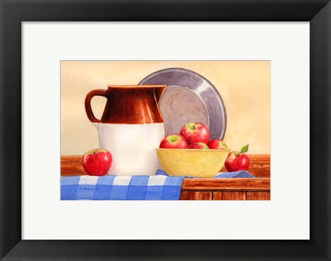 Framed Apples In Yellow Bowl Print